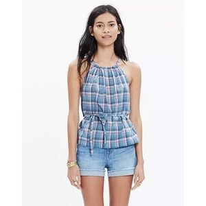 MADEWELL Rivet and Thread Plaid Tie Top NWT Large